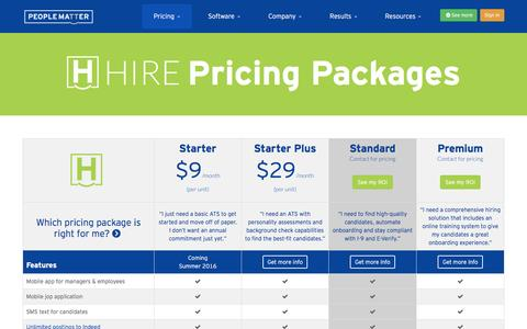 Screenshot of Pricing Page peoplematter.com - 2016 Pricing Packages | PeopleMatter - captured April 2, 2016