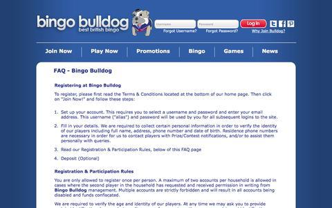 Screenshot of FAQ Page bingobulldog.co.uk - Online Bingo | 400% up to £50 1st deposit | 50% Reload and 10% weekly loyalty bonus on Bingo Bulldog - captured Sept. 30, 2014
