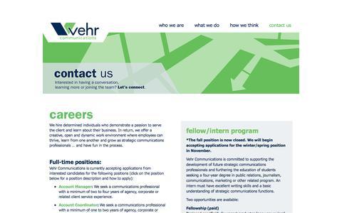 Screenshot of Jobs Page vehrcommunications.com - careers   Vehr Communications - captured Oct. 26, 2014