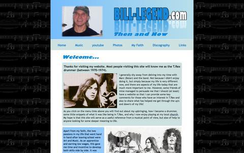 Screenshot of Home Page bill-legend.com - Bill Legend - T.Rex Drummer - captured June 9, 2016