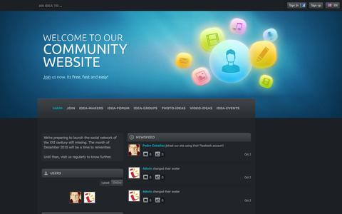 Screenshot of Home Page anideato.com - An Idea To ... - social networking - captured Dec. 25, 2015