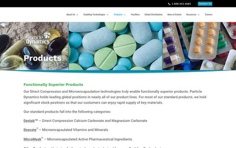 Screenshot of Products Page particledynamics.com - Products - Particle Dynamics - captured Oct. 22, 2018