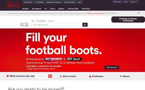 Screenshot of Home Page virginmedia.com - Virgin Media – Cable Broadband, Digital TV, Mobile & More | Virgin Media - captured Aug. 19, 2016