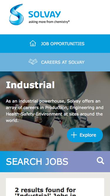 Screenshot of Jobs Page  solvay.com - Industrial Jobs in Canada at Solvay   Careers at Solvay