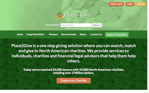 Screenshot of Home Page place2give.com - North American Charity Listings - Donor Research - Donations - captured July 22, 2015