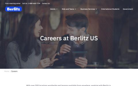 Screenshot of Jobs Page berlitz.com - Become a Language Teacher | Careers at Berlitz - captured Feb. 17, 2019