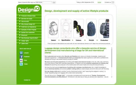 Screenshot of Home Page design-iq-ltd.com - Design IQ | Bag design and manufacture - captured Sept. 30, 2014