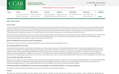 Screenshot of Privacy Page ccar-greenlink.org - CCAR - captured Oct. 1, 2014