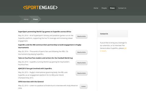 Screenshot of Press Page sportengage.com - SportEngage | Press - Articles and contact details - captured Oct. 7, 2014