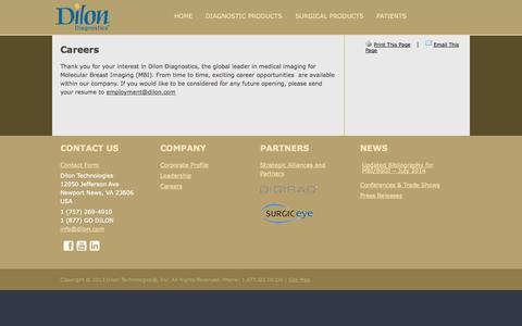 Screenshot of Jobs Page dilon.com - Careers | Dilon Diagnostics - captured Sept. 15, 2014