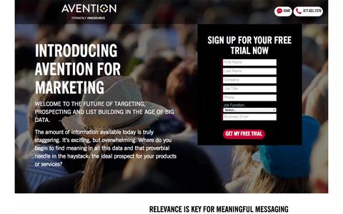 Screenshot of Landing Page avention.com - Avention - captured Oct. 27, 2014