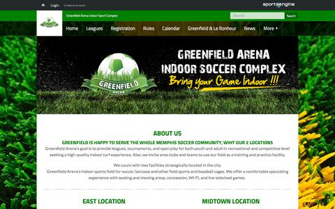 Screenshot of Contact Page greenfieldarena.com - Contact Us - captured July 25, 2018