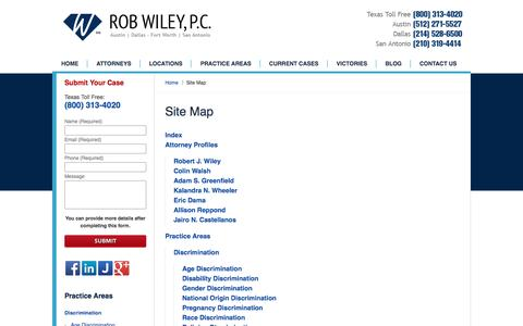 Screenshot of Site Map Page robwiley.com - Site Map :: Dallas Employment Lawyer Rob Wiley, P.C. - captured Dec. 6, 2016