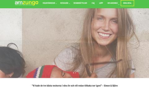 Screenshot of Home Page amzungo.com - Volontärarbete: Bli volontär med Amzungo Volontärresor - captured Oct. 8, 2017