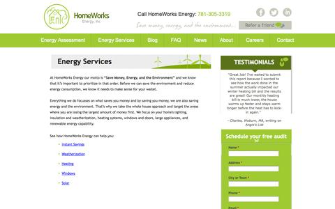 Screenshot of Services Page homeworksenergy.com - Save money and home energy | Homeworks Energy - captured Sept. 30, 2014