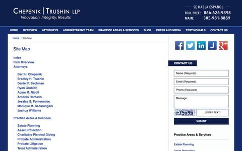Screenshot of Site Map Page miamifloridaestateplanninglawyer.com - Site Map :: Miami-Dade County Probate Lawyer Chepenik Trushin LLP - captured July 28, 2017