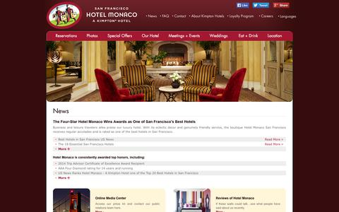 Screenshot of Press Page monaco-sf.com - San Francisco Hotel News | Hotel Monaco San Francisco - captured Sept. 23, 2014