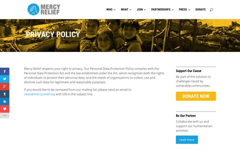 Screenshot of Privacy Page mercyrelief.org - Privacy Policy - Mercy Relief - captured Aug. 10, 2016