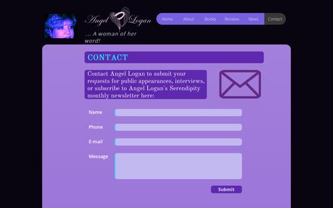 Screenshot of Contact Page wingsofanangel.us - ANGEL LOGAN ... A woman of her word! Published Author | Professional Writer – CONTACT - captured Oct. 7, 2017