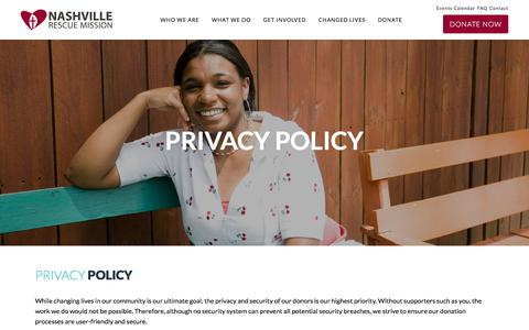Screenshot of Privacy Page nashvillerescuemission.org - Privacy Policy - Nashville Rescue Mission - captured Sept. 21, 2018