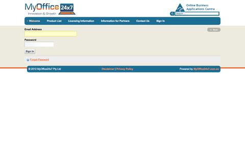 Screenshot of Login Page myoffice24x7.com - Welcome - Business Applications Marketplace - MyOffice24x7 - captured Oct. 9, 2014