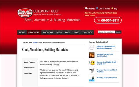 Screenshot of Products Page buildmartgulf.com - Steel, Aluminium, Building Materials | Steel and Aluminium Stockists Traders BuildMart Gulf - captured Oct. 5, 2014