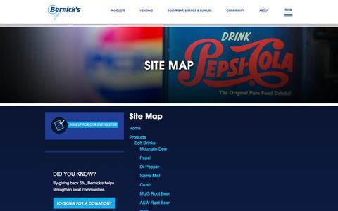 Screenshot of Site Map Page bernicks.com - Site Map :: Bernick's :: Saint Cloud, MN - captured Jan. 1, 2016