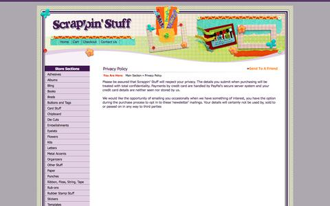 Screenshot of Privacy Page scrappinstuff.ch - Privacy Policy > Main Section > Scrappin Stuff Scrapbooking and Cards - captured June 30, 2018