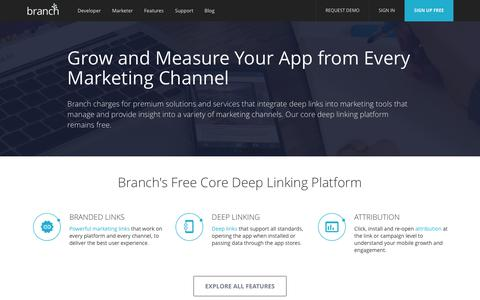 Screenshot of Pricing Page branch.io - Pricing - Deep Linking Products - Branch Metrics - captured June 9, 2017
