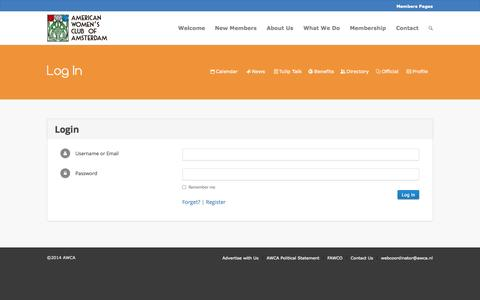 Screenshot of Login Page awca.nl - American Women's Club of Amsterdam |   Log In - captured Oct. 31, 2014