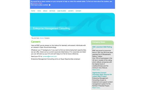 Screenshot of Jobs Page emcuk.com - Careers /  Home - Enterprise Management Consulting - captured May 22, 2016