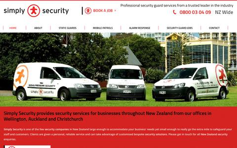 Screenshot of Home Page simplysecurity.co.nz - Simply Security Wellington Static Guards Auckland NZ - captured June 13, 2017