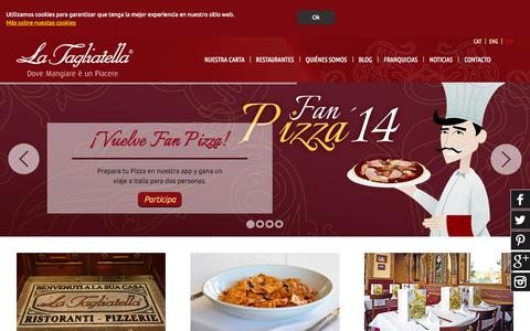 Screenshot of Home Page latagliatella.es - Auténticos restaurantes italianos - Comida italiana La Tagliatella - captured Sept. 25, 2014