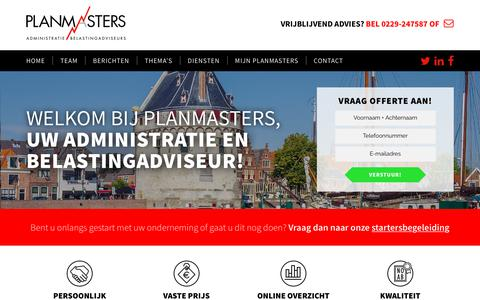 Screenshot of Home Page planmasters.nl - Planmasters - Uw Administratie en Belasting Kantoor in Hoorn - captured Sept. 28, 2018