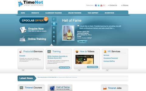 Screenshot of Home Page timenet.co.in - Cisco & Microsoft  Certification|Network Solutions & Support|TimeNet - captured Oct. 7, 2014