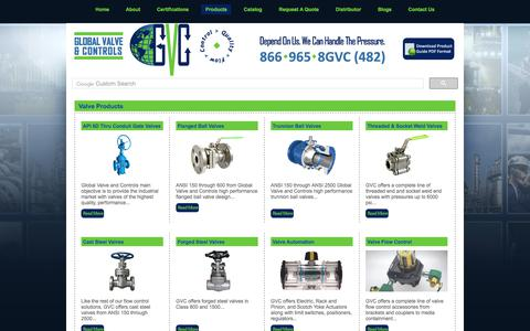 Screenshot of Products Page globalvalveandcontrols.com - Trunnion Ball Valves, API 6D Valves, Pipeline Valves, Through Conduit Gate Valve, Double Block and Bleed Valves - Global Valve & Controls - captured July 20, 2018