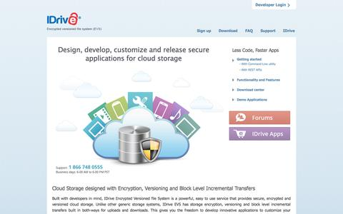 Screenshot of Developers Page idrive.com - IDrive EVS - Encrypted and versioned file system (EVS) - for Online Backup, Sync and more - captured Sept. 23, 2014