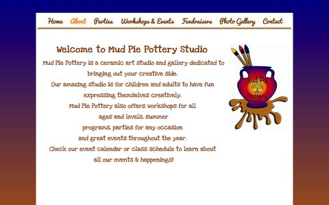 Screenshot of About Page mudpiepotterystudio.com - About - captured Oct. 9, 2014