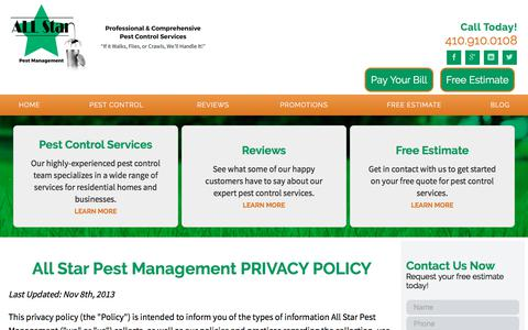 Screenshot of Privacy Page allstarpestmanagement.com - Privacy Policy | Baltimore, MD | All Star Pest Management - captured July 29, 2018