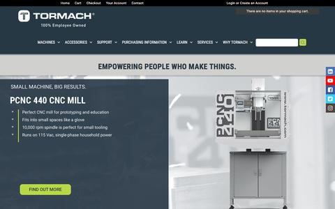 Screenshot of Home Page tormach.com - Affordable CNC Machines | Tormach - captured Sept. 21, 2018