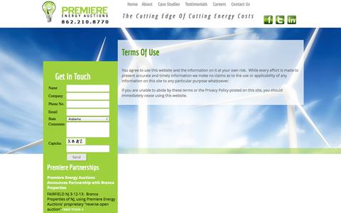 Screenshot of Terms Page myenergyauction.com - Terms Of Use | Premiere Energy Auctions - captured Oct. 3, 2014