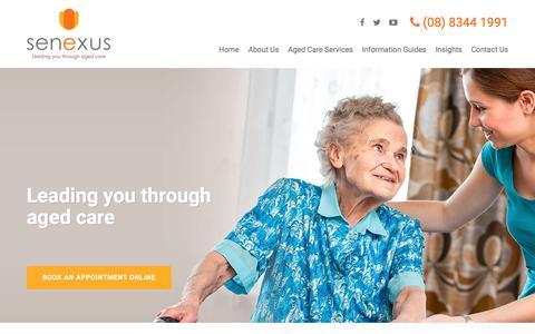 Screenshot of Home Page senexus.com.au - Senexus | Aged Care Solutions - captured Nov. 29, 2016