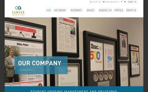 Screenshot of Home Page campusadv.com - Campus Advantage Student Housing Management Company - captured Jan. 24, 2016