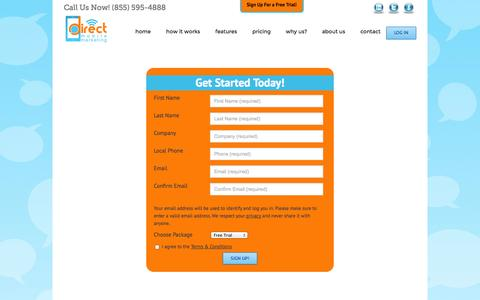 Screenshot of Trial Page directmm.com - Direct Mobile Marketing, Inc   –  Free Trial - captured Oct. 6, 2014