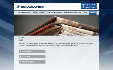 Screenshot of Press Page csiaviation.com - Media - captured Nov. 1, 2014