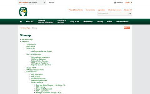 Screenshot of Site Map Page hia.com.au - Sitemap - captured Sept. 10, 2017