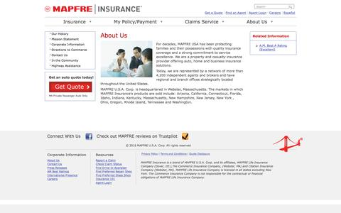 Screenshot of About Page commerceinsurance.com - About Us & Our Agents | MAPFRE Insurance - captured July 15, 2016