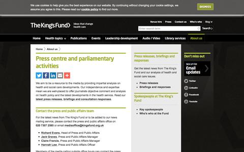 Screenshot of Press Page kingsfund.org.uk - Press centre and parliamentary activities | The King's Fund - captured Dec. 1, 2016
