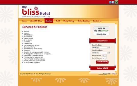 Screenshot of Services Page hotelmybliss.com - Services & Facilities - captured Sept. 30, 2014