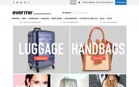 Screenshot of Home Page everme.co.nz - Buy Handbags & Luggage Online In NZ from EverMe - captured Jan. 26, 2015